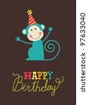 cute happy birthday card with... | Shutterstock .eps vector #97633040