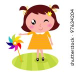 cute child with colorful... | Shutterstock .eps vector #97634204