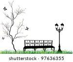 illustration with white cherry... | Shutterstock .eps vector #97636355