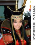 Small photo of ULAN-UDE, RUSSIA - MARCH 25: An unidentified model wears a stylized Mongolian costume at the City Maecenas Ball on March, 25, 2009 in Ulan-Ude, Buryatia, Russia.