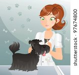 veterinary woman  at the clinic ... | Shutterstock . vector #97674800