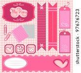a set of pretty scrapbook... | Shutterstock .eps vector #97676723