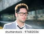 Portrait of a attractive young businessman - stock photo