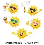 sun character set | Shutterstock .eps vector #97695194