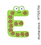 Colorful wooden alphabet letter on white with clipping path, E - stock photo