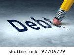 erasing debt concept with a... | Shutterstock . vector #97706729