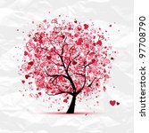 valentine tree with hearts for... | Shutterstock .eps vector #97708790