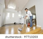 woman cleaning the house with... | Shutterstock . vector #97713203
