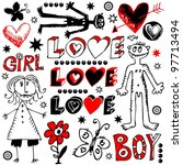 crazy love doodles  hand drawn... | Shutterstock . vector #97713494