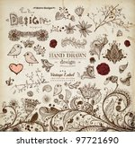 hand drawn floral ornaments... | Shutterstock .eps vector #97721690