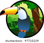 Vector Label With Toucan In...