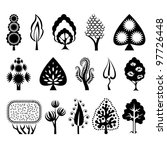 set of graphic decorative trees | Shutterstock .eps vector #97726448