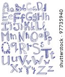 hand drawn alphabet vector... | Shutterstock .eps vector #97735940