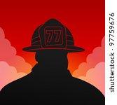 Red Fireman Silhouette   Black...