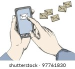 Hands with a phone - stock vector