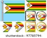 raster flag set zimbabwe | Shutterstock . vector #97785794