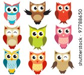 set of owls. raster version. | Shutterstock . vector #97788650