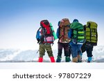 Group Of Hikers In Winter...