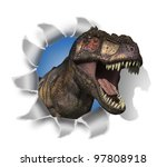 A Tyrannosaurus Rex pokes his head through your document - 3D render with digital painting. - stock photo