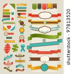 Stock vector set of retro ribbons and labels vector illustration 97813520