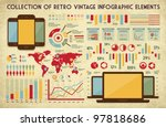 retro vector set of infographic ... | Shutterstock .eps vector #97818686
