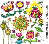 set beautiful flowers floral... | Shutterstock .eps vector #97823228