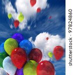 colorful balloons flying in the ... | Shutterstock . vector #97824860