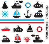 Set Of Vector Sea Transport
