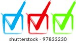set of colorful check boxes.... | Shutterstock .eps vector #97833230
