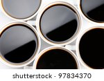 Group of coffee mug full of coffee over white background - stock photo