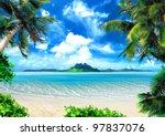 Tropical Coast  Beach With Han...