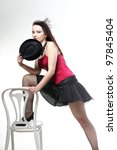 entertainment pastime girl dance in red corset chair white isolated showgirl, - stock photo