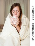 a sick young lady in bed ...   Shutterstock . vector #97868534