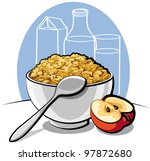 tasty cornflakes in white bowl... | Shutterstock .eps vector #97872680