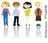 cartoon boys and girls for... | Shutterstock .eps vector #97918448