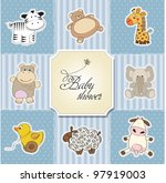 Stock vector baby shower card template vector illustration 97919003