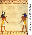background with egyptian gods... | Shutterstock . vector #97938548