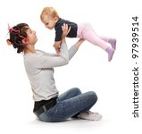 Young mother practicing with her daughter. Healthy life style concept. - stock photo