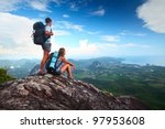 young tourists with backpacks... | Shutterstock . vector #97953608