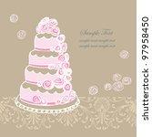vector wedding cake  for... | Shutterstock .eps vector #97958450