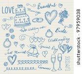 wedding doodles sketchy vector... | Shutterstock .eps vector #97959038