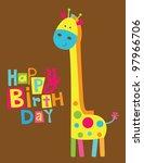Cute Happy Birthday Card With...