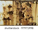 """Corrosion Background"" An old rusted with peeling paint background Photograph. - stock photo"