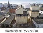 """""""Old Factory View"""" Old factories, refineries and oil tanks in this industrial section of Bayonne, New Jersey. - stock photo"""