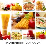 pasta collage | Shutterstock . vector #97977704
