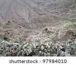 landscape at Lanzarote, part of the Canary Islands in Spain - stock photo