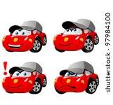 funny cartoon car emotions | Shutterstock .eps vector #97984100