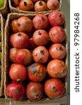 ripe pomegranates in a wattled... | Shutterstock . vector #97984268
