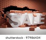 Brick wall collapsed big sales - stock photo