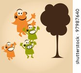 funny cartoon people and tree | Shutterstock .eps vector #97987640